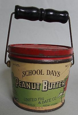 """Very Htf """"school Days"""" Advertising Peanut Butter Tin Pail With Lid & Bail Handle"""