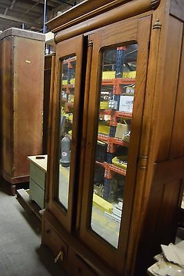 "Large Vintage Light Wood Armoire Wardrobe with Mirrors 80.5"" x 43.5"" x 17.5"""
