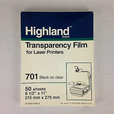 Highland Transparency Film Overhead Projector Laser Printers 701 Black On Clear