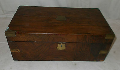 Victorian WOODEN Box Brass INLAID WRITING SLOPE For RESTORATION In WALNUT