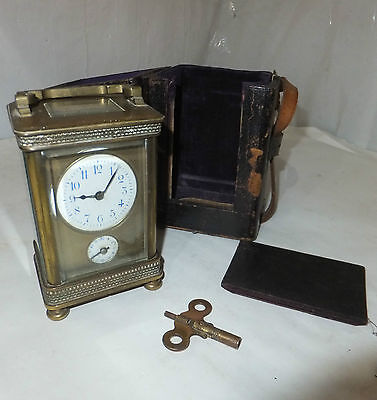 FRENCH Antique CARRIAGE Mantel CLOCK Brass & Glass ALARM Vintage CASED Repeating