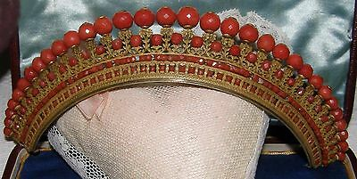 Diademe ancien,Empire ,bronze et Perle de corail facetté,debut 19eme