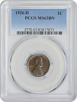 1926-D Lincoln Cent MS63BN PCGS Mint State 63 Brown