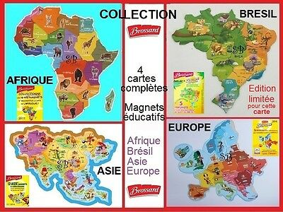 BROSSARD Lot MAGNETS - 4 COLLECTIONS COMPLETES  AFRIQUE - BRESIL - ASIE - EUROPE