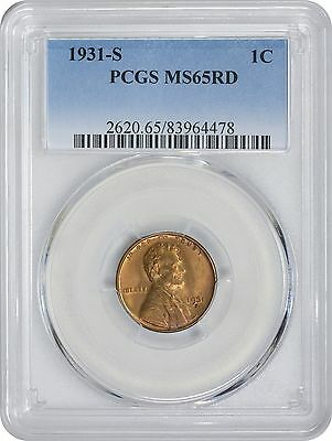 1931-S Lincoln Cent MS65RD PCGS Mint State 65 Red