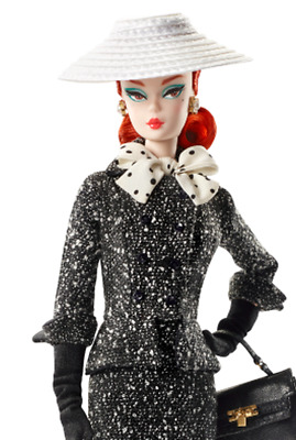 Black White Tweed Suit Silkstone Red Head Barbie Doll With Handbag Hat Charms