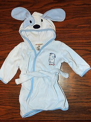 Just One Year Carters Hooded Bath Robe Terry Cloth Towel Blue Puppy 0-9m