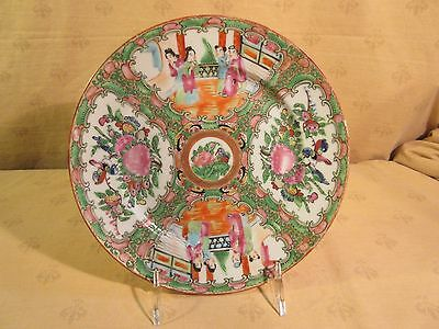 """LOT 5 ANTIQUE CHINESE EXPORT ROSE MEDALLION 8 1/2"""" PLATES Birds & People"""