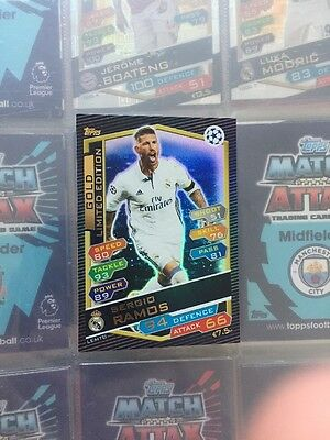 Match Attax Limited Edition Gold Sergio Ramos 16/17 Champions League