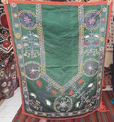 Silk Base Unique  Vintage  80's  Uzbek Hand Silk Embroidered   Suzani  11U10
