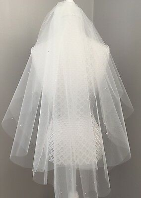 FAB 2 Tier Bridal Wedding Veil IVORY Tulle Scattered PEARLS Fingertip Length