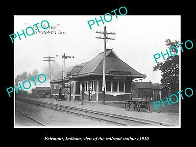 OLD LARGE HISTORIC PHOTO OF FAIRMONT INDIANA, VIEW OF THE RAILROAD STATION c1910
