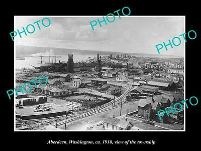OLD LARGE HISTORIC PHOTO OF ABERDEEN WASHINGTON, VIEW OF THE TOWNSHIP c1910
