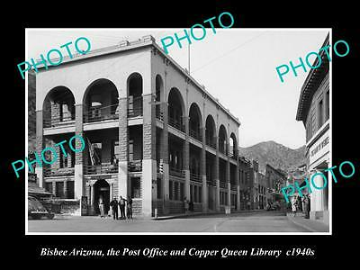 OLD LARGE HISTORIC PHOTO OF BISBEE ARIZONA, VIEW OF POST OFFICE & LIBRARY c1940