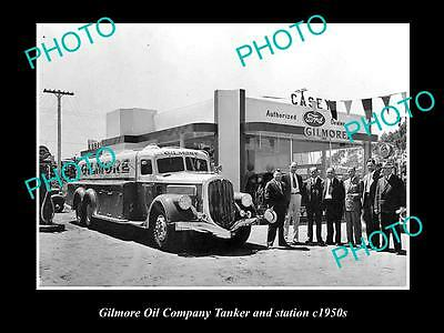 OLD LARGE HISTORIC PHOTO OF THE GILMORE OIL COMPANY TANKER & STATION c1950s