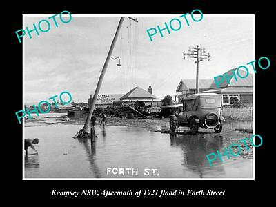 OLD LARGE HISTORICAL PHOTO OF KEMPSEY NSW, VIEW OF THE 1921 FLOODS, 4th STREET