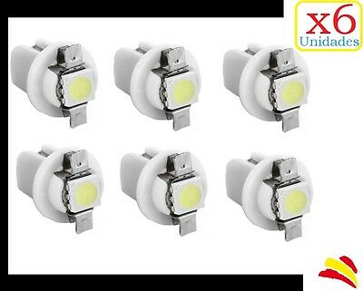 x6 Bombillas LED B8.5D BLANCO SMD 5050 SALPICADERO DASHBOARD MOTO TABLERO