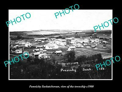 OLD LARGE HISTORIC PHOTO OF PUNNICHY SASKATCHEWAN, VIEW OF THE TOWNSHIP c1900
