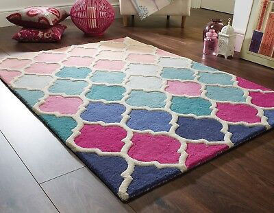 Illusion Rosella Pink Blue Hand Carved Wool Rug in various sizes