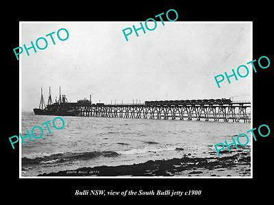 OLD LARGE HISTORIC PHOTO OF BULLI NSW, VIEW OF THE SOUTH BULLI JETTY c1900