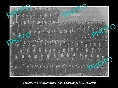 OLD LARGE HISTORICAL PHOTO OF THE MELBOURNE METRO FIRE BRIGADE, VICTORIA c1910