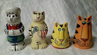 2 Pairs Catzilla Salt & Pepper Shakers Candace Reiter Designs Nice