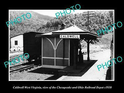 OLD LARGE HISTORIC PHOTO OF CALDWELL WEST VIRGINIA, THE RAILROAD STATION c1930