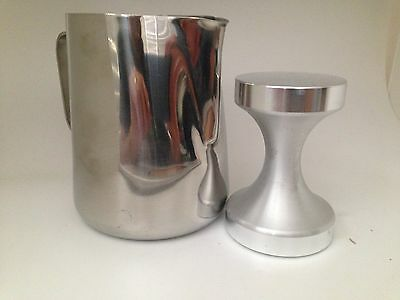 Coffee Tamper 58mm and 600ml Jug Stainless Steel Polished Tampa Tamp Espresso