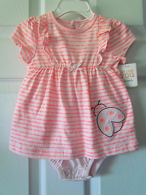 NWT Carter's Pink Striped Ladybug Toddler Girls Dress Size 12 Months