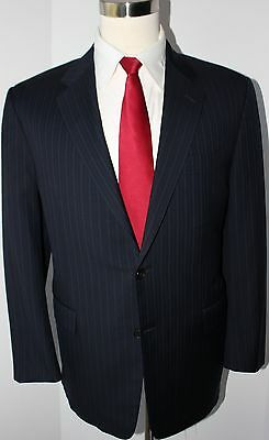 Hickey Freeman Madison Blue Striped Two Button Wool Suit 44 R Jacket 37 30 Pants