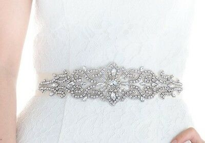 Wedding Dress Sash Belt - Crystal Pearl Sash Belt = 11 inch long