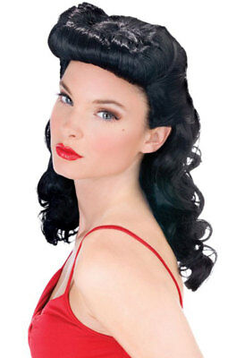 Brand New Burlesque Beauty Bettie Page Pin Up Girl Costume Wig - Black