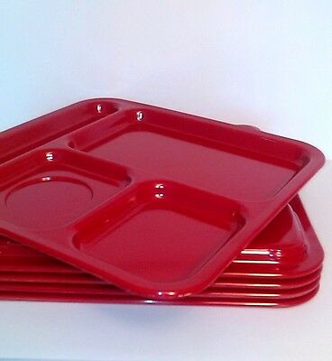 Texas Ware Red Lunch Trays 5 Lot Divided Cafeteria Food Plate VTG