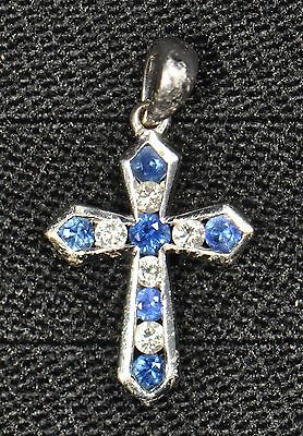 18k White Gold Diamond And Sapphire Cross Pendant - Gently Used - J-73A
