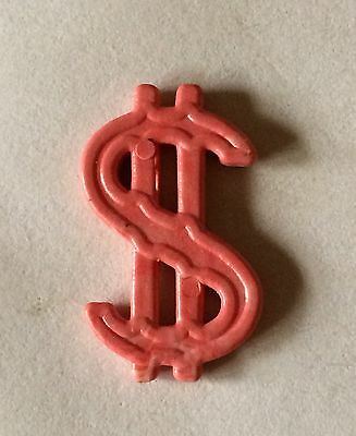 Cracker Jack Gumball Premium Toy Prize Red Plastic Dollar Sign Charm