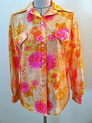 Vintage 70's womens top shirt button down disco floral bright neon size S M L