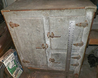 "ANTIQUE VINTAGE GALVANIZED METAL KITCHEN ICE BOX 15.5 X 32.5"" X Roughly 40"""
