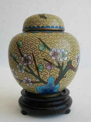 Fine Old Chinese Enamel Cloisonne & Brass Flowers Decorated Ginger Jar