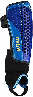 Mitre Aircell Carbon Ankle Protect Football Shin Pads Blue/Cyan/Yellow Small