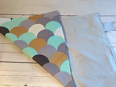 Travel Change mat large, Waterproof Cotton in Grey, Gold, Mint Modern