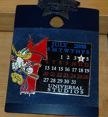 Universal Studios Woody Woodpecker 4th of July 2008 Calendar Firework Rocket PIN
