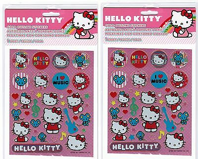 Sanrio Hello Kitty Gold Outline sparkly Stickers! 2 NEW PACKS! MUSIC