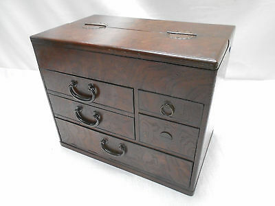 Antique Kiri and Keyaki Wood Sewing Dresser Box Japan Drawers Circa 1920s #637