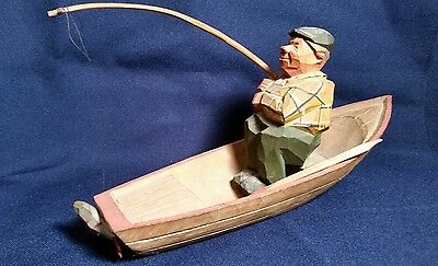 Rare Vintage TRYGG / SVEN  GUNNARSSON  Wood  Carving Fisherman in Boat