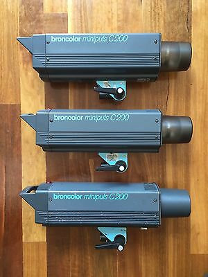 Broncolor C200 Monolights x 3 Very Powerful 1500ws Flash Units  in great cond