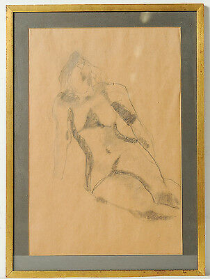 Vintage Figurative Female Nude Charcoal Pencil Drawing