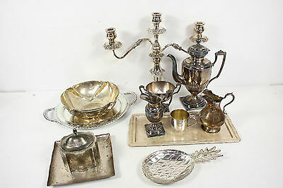 Vintage Assorted Mixed Silverplate Candelabra Bowl Platter Pitcher Cup Lot