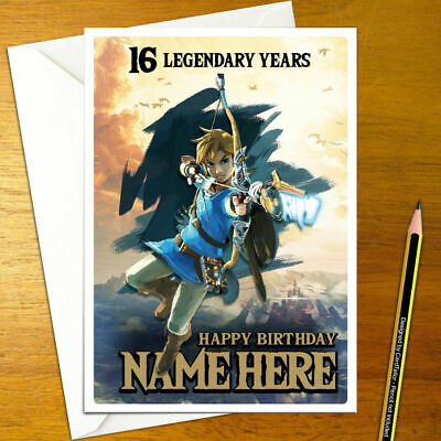 Link Breath Of The Wild Personalised Birthday Card Large A5 Zelda