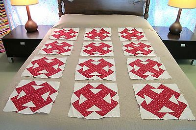 Lot of 12 Vintage All Cotton Hand Sewn T BLOCK, Four T Quilt BLOCKS, Nice !