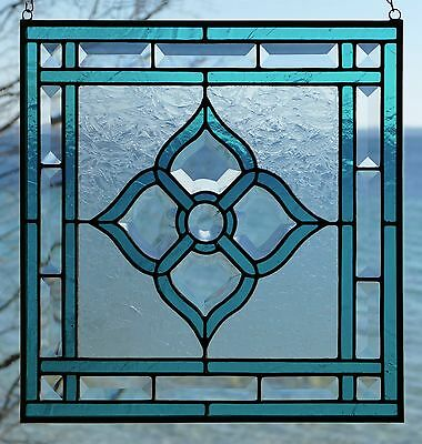 "14 3/4"" x 14 3/4"" Aqua Blue Bevel Cluster Stained Glass Window"